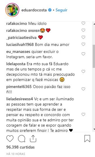 Ficou bravo? Após ser processado por Fernanda Lima, Eduardo Costa toma atitude drástica