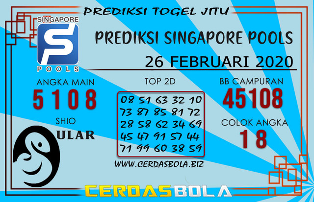 Prediksi Togel SINGAPORE CERDASBOLA 26 FEBRUARI 2020