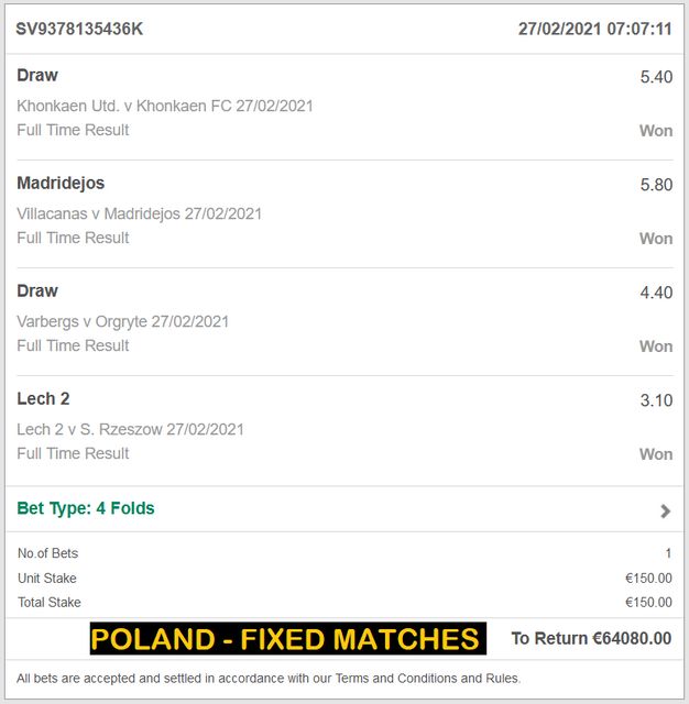 POLAND VIP TICKET FIXED MATCHES