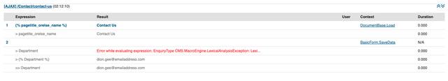 Screenshot of macro debug