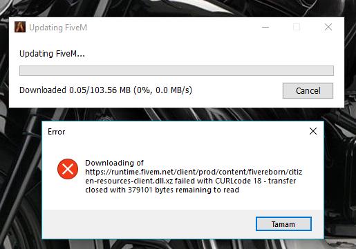 Error : Downloading of https://runtime fivem net/client/prod/content