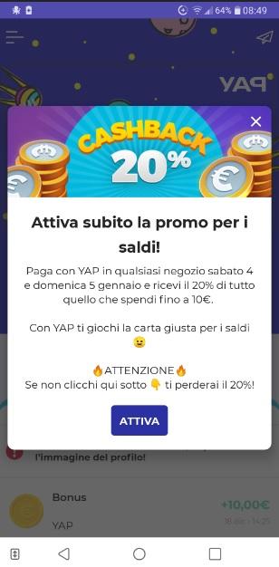 YAP L'App gratuita che ti restituisce denaro! CASHBACK RESTITUZIONE DENARO SU USO CONTO! - Pagina 2 2020-01-04-yap