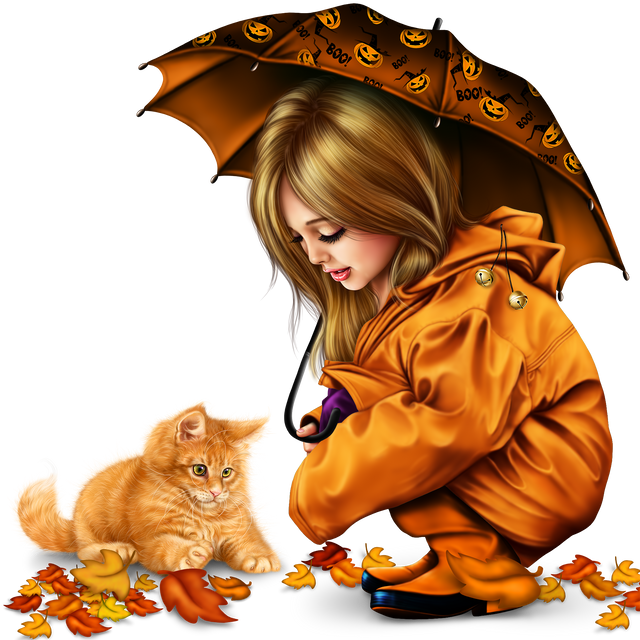 little girl in raincoat with a kitty png 277e6166edb9e82051.png