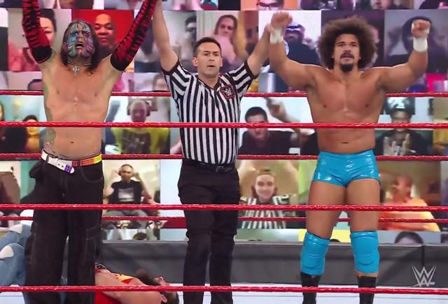 Jeff Hardy y Carlitos vencen a Elías y Jaxson Ryker RAW 1 Febrero