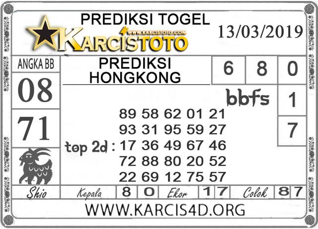 Prediksi Togel HONGKONG KARCISTOTO 13 MARET 2019