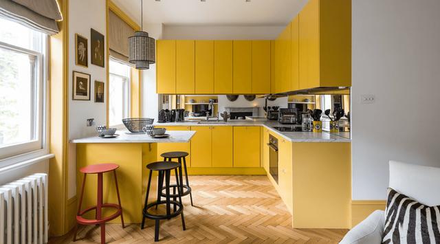 желтый интерьер в кухне фото