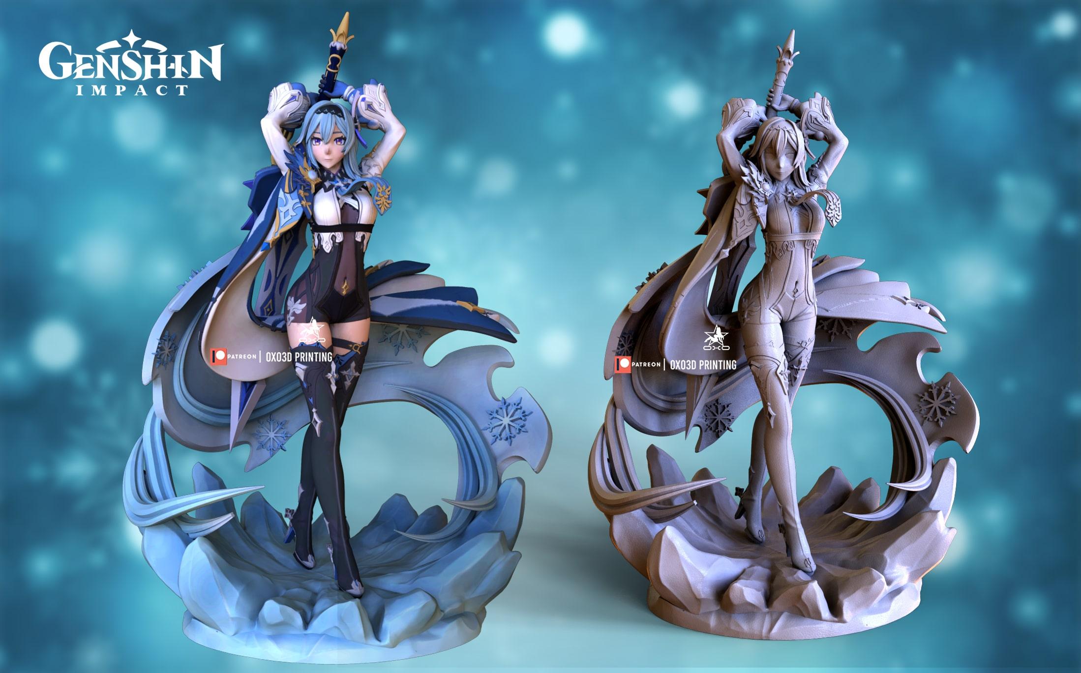 Eula/Yura From Genshin Impact 3D Print STL File - Standard version with Base