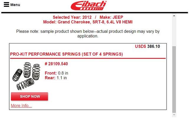 eibach springs price