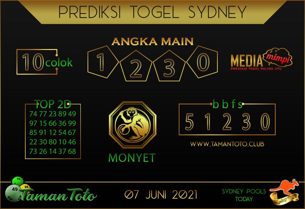 Prediksi Togel SYDNEY TAMAN TOTO 07 JUNI 2021