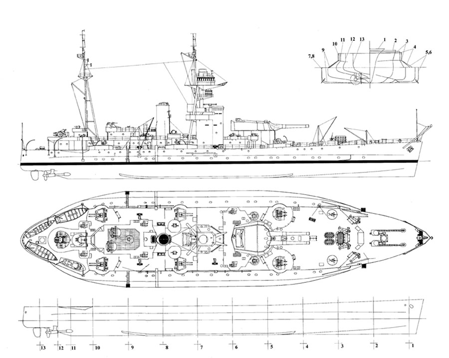 RN Roberts Class monitor 1/144 scale(ish) Diagram