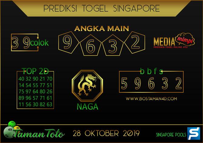 Prediksi Togel SINGAPORE TAMAN TOTO 28 OKTOBER 2019