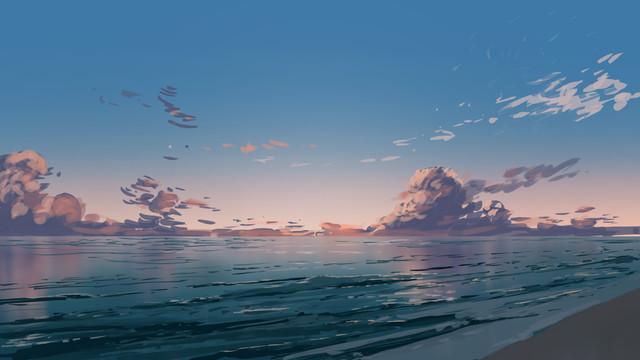General 1920x1080 landscape beach artwork sky clouds sea
