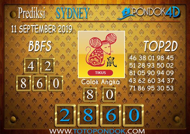 Prediksi Togel SYDNEY PONDOK4D 11 SEPTEMBER 2019