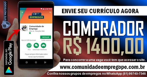 COMPRADOR COM SALÁRIO DE R$ 1400,00 PARA EMPRESA DE PNEUS