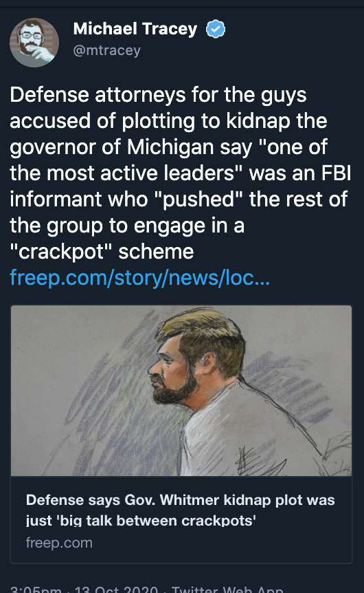 Militia Leader Who Planned to Kidnap Whitmer and Attack Police Was FBI Informant