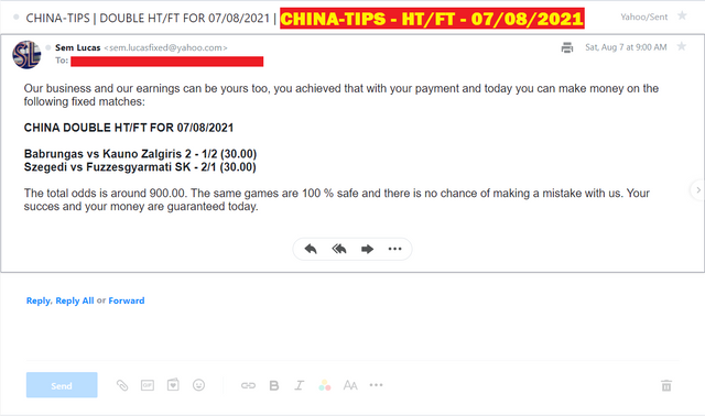 CHINA DOUBLE HT/FT FIXED MATCHES FOR 07/08/2021