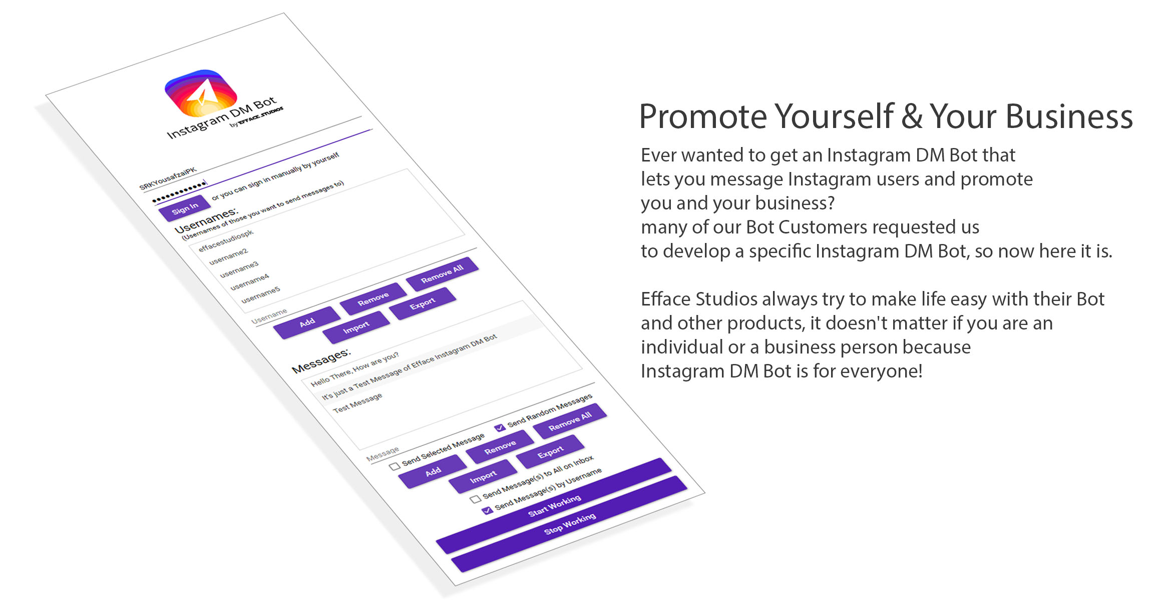 Efface Instagram DM Bot - Promote Yourself & Your Business - 1