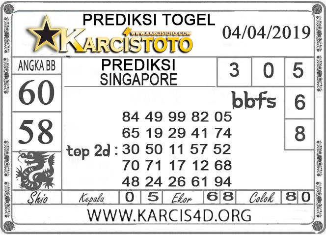 Prediksi Togel SINGAPORE KARCISTOTO 04 APRIL 2019