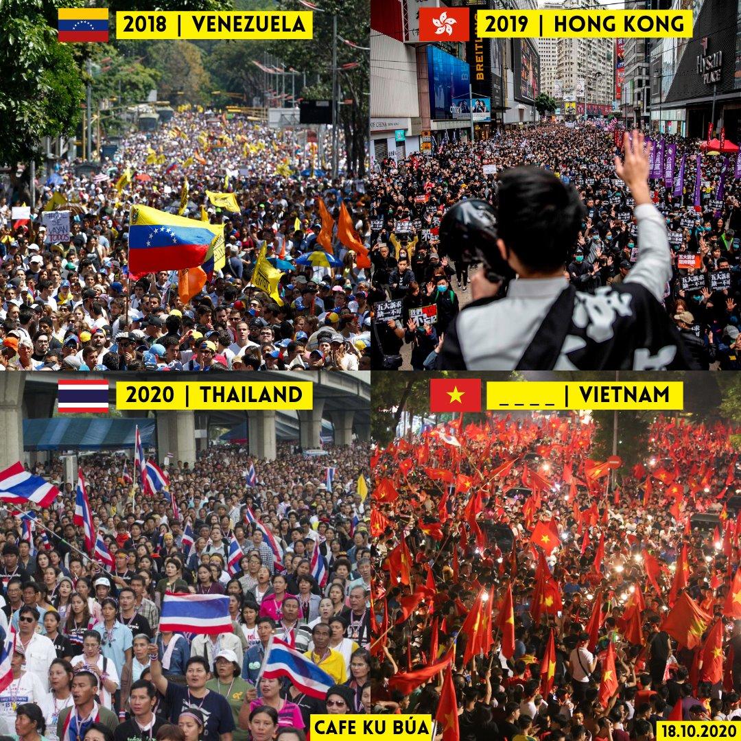 BIỂU TÌNH Ở VENEZUELA, HONG KONG, THÁI LAN VÀ VIỆT NAM