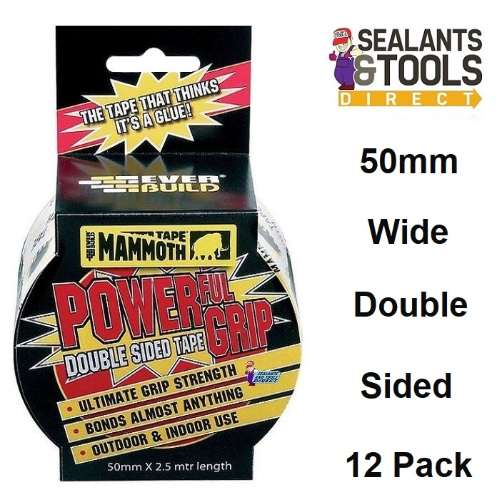 Everbuild Mammoth Power Grip Double Sided Tape 50mm Box of 12