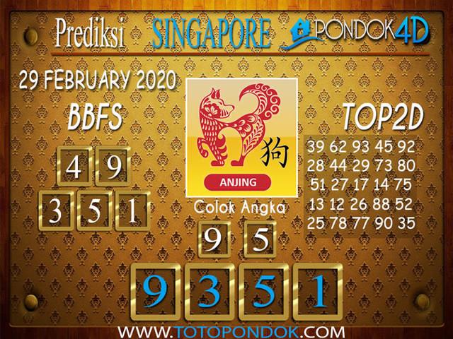 Prediksi Togel SINGAPORE PONDOK4D 29 FEBRUARY 2020