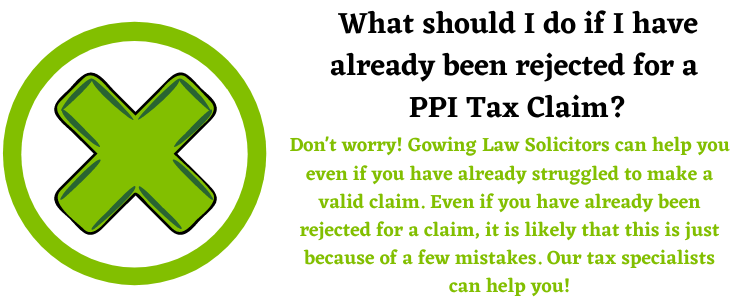PPI Tax Claim rejection