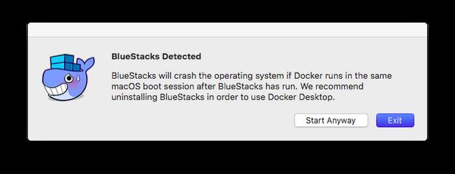 Docker nos recomienda desinstalar BlueStacks para que no haya problemas.