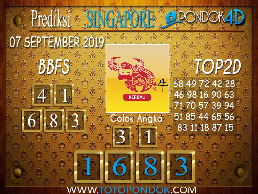 Prediksi Togel SINGAPORE PONDOK4D 07 SEPTEMBER 2019