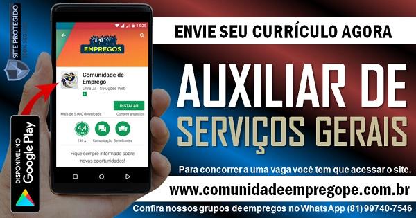 AUXILIAR DE SERVIÇOS GERAIS COM SALÁRIO DE R$ 1150,00 PARA DISTRIBUIDORA NO RECIFE