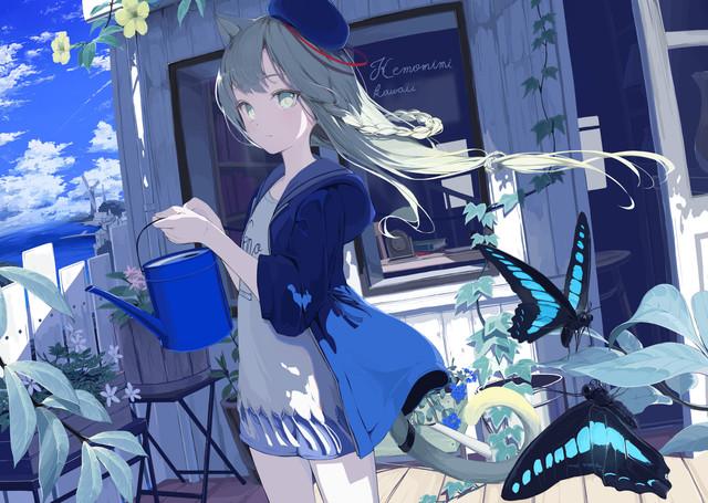 Anime 3500x2487 mikisai cat girl anime girls artwork animal ears tail grey hair gray eyes butterfly