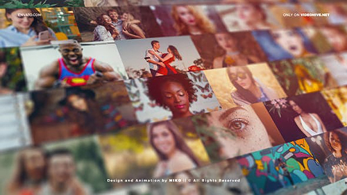 Mosaic Photo Wall Vlog Logo Reveal 25423444 - Project for After Effects (Videohive)