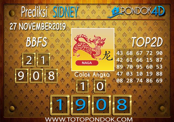 Prediksi Togel SYDNEY PONDOK4D 27 NOVEMBER 2019