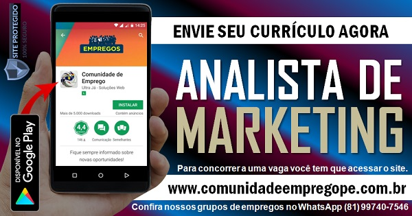 ANALISTA DE MARKETING COM SALÁRIO DE R$ 4000,00 PARA EMPRESA NO RECIFE