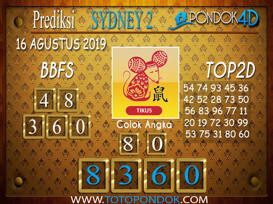 Prediksi Togel SYDNEY 2 PONDOK4D 16 AGUSTUS 2019