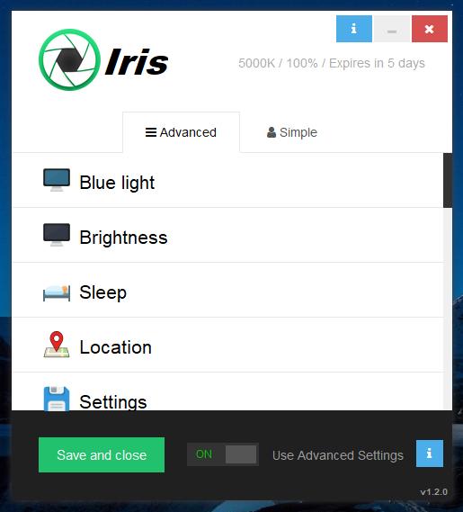 إحمي عينيك من مختلف أنواع أشعة الحاسوب الضارة مع البرنامج الرائع Iris pro 1