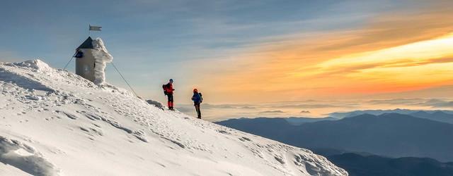 Triglav winter ascent summit view