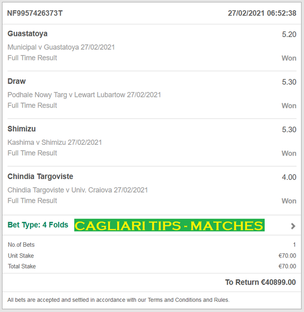 CAGLIARI TIPS - MATCHES | VIP TICKET FIXED MATCHES