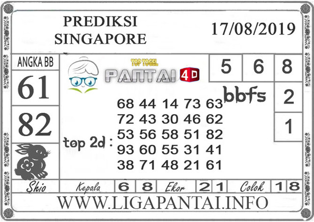 "PREDIKSI TOGEL ""SINGAPORE"" PANTAI4D 17 AGUSTUS 2019"