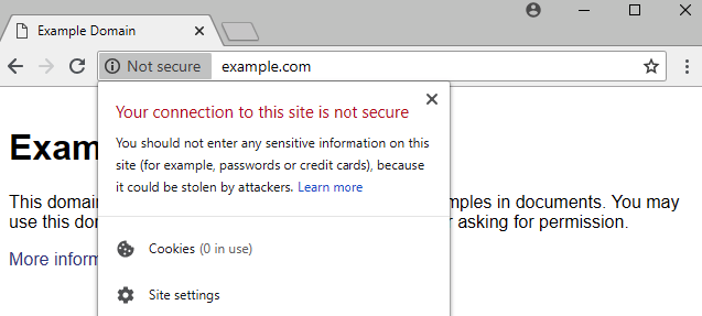 Google Chrome labels non-HTTP websites as not secure