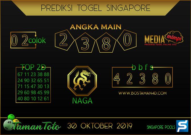 Prediksi Togel SINGAPORE TAMAN TOTO 30 OKTOBER 2019
