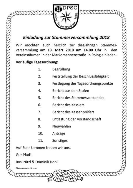 2018 Einladung Stammesversammlung