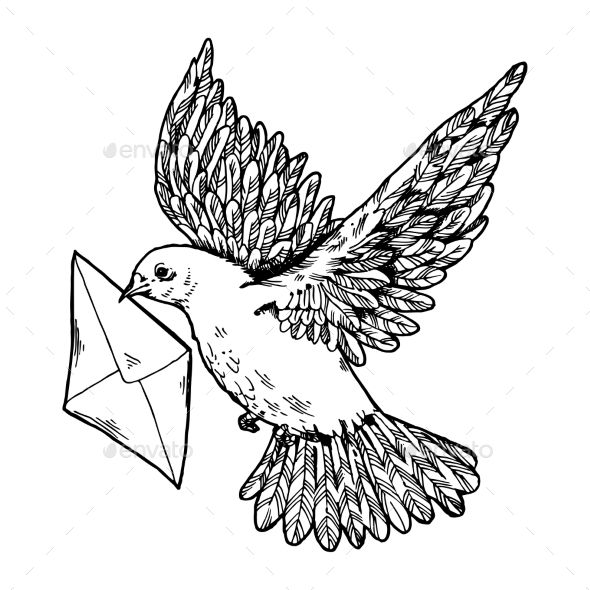 Postal-Dove-with-Letter-Engraving-Style-Vector