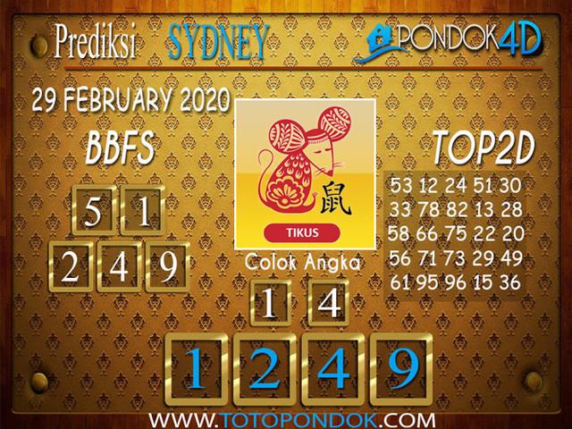 Prediksi Togel SYDNEY PONDOK4D 29 FEBRUARY 2020