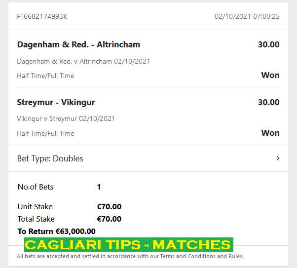 Official PROOF FOR CAGLIARI DOUBLE HT/FT FIXED MATCHES