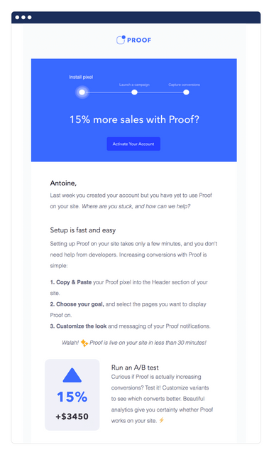 proof's activation email