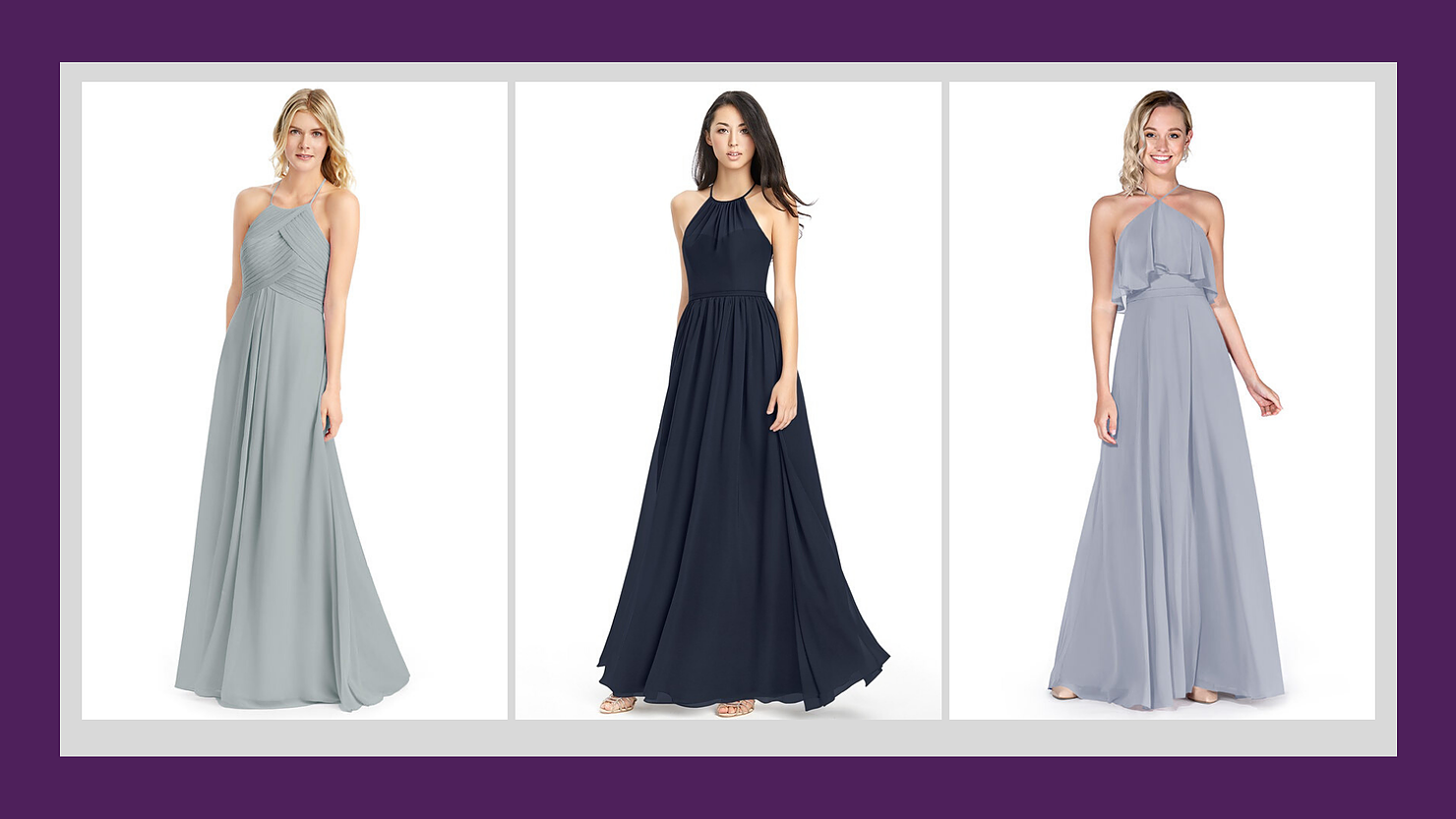Bridesmaid dresses in gray and navy