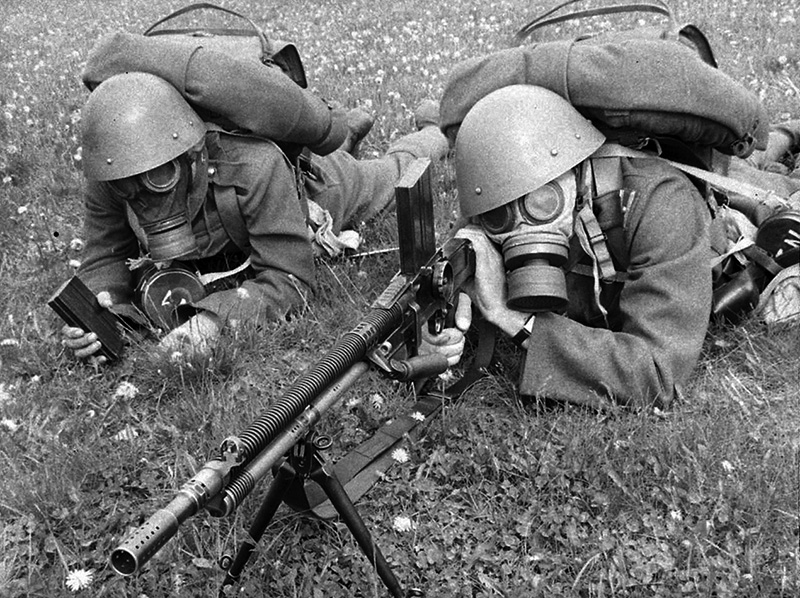 Czechoslovak soldiers in gas masks with a ZB 26