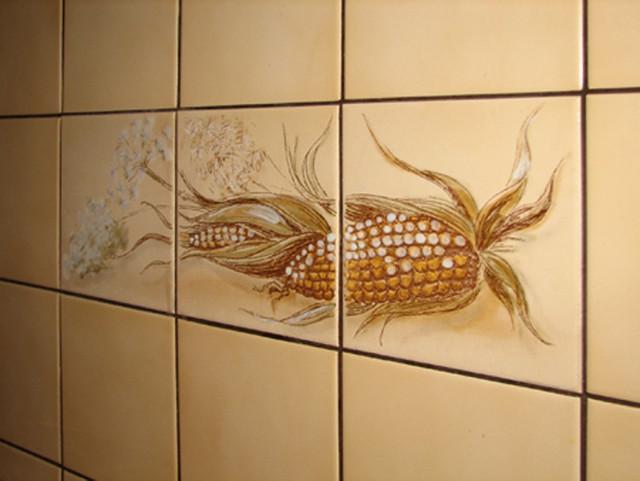 Бежевая плитка на кухне