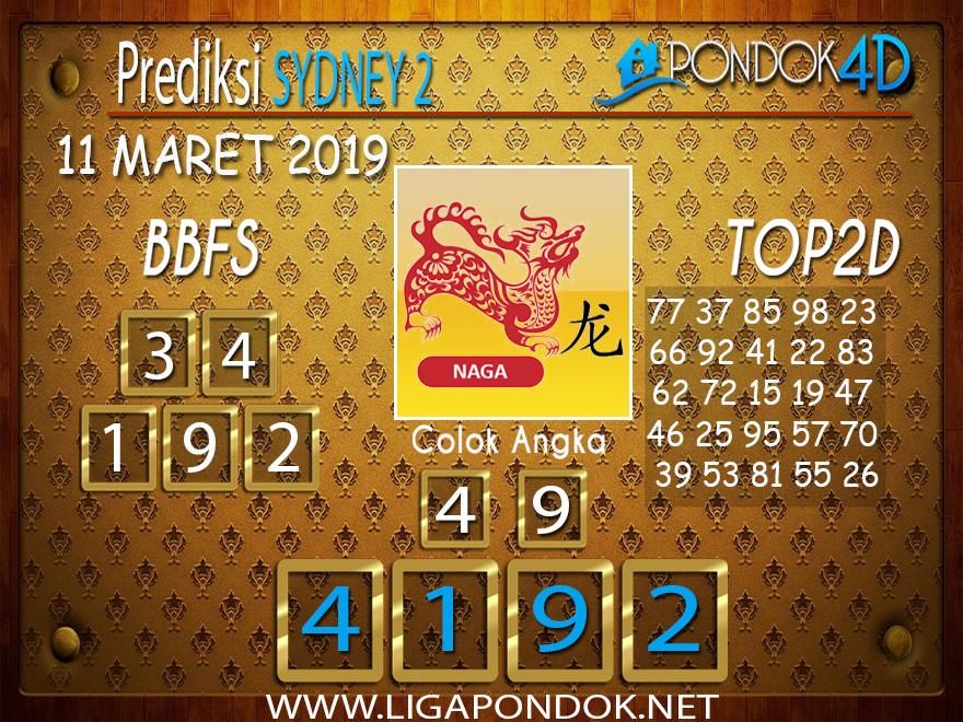 Prediksi Togel SYDNEY 2 PONDOK4D 11 MARET 2019