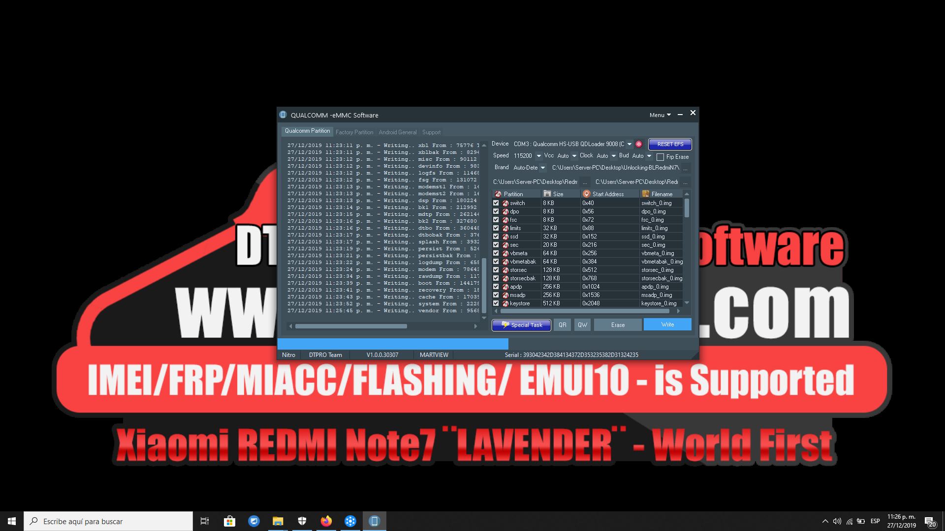Xiaomi REDMI note7 - Writing ENGineer Firmware Successfull - Beta Version V1.0.0.30307 - OK!!
